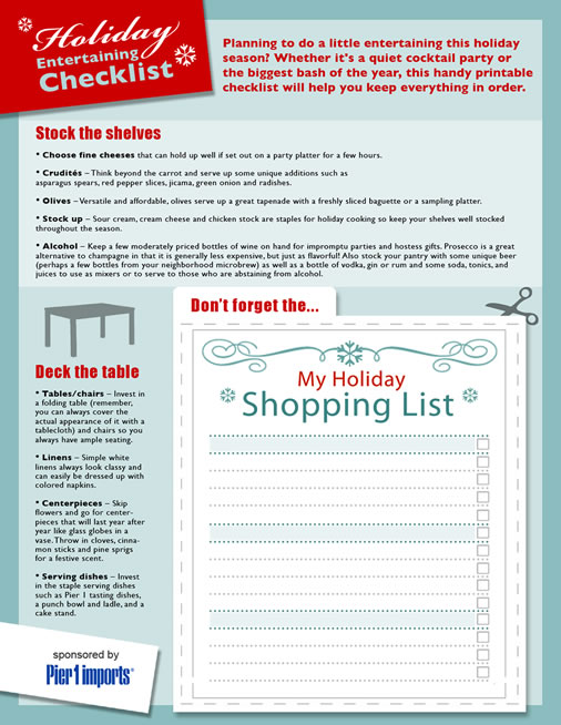 Holiday entertaining checklist