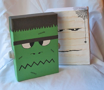 Cajas de cereales recicladas para crear monstruos de Halloween